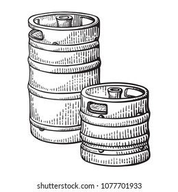 sketch two beer kegs isolated on white background