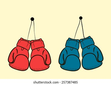 The sketch with two color boxing gloves