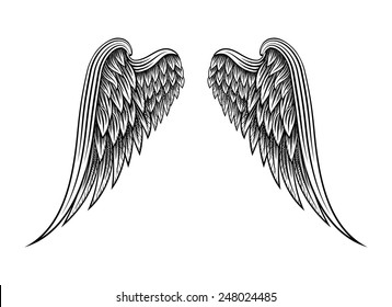 Sketch of two hand drawn angel wings isolated on white background. Vector illustration