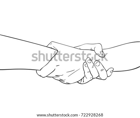 Sketch Two Hands Holding Together Concept Stock Vector Royalty Free