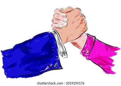 Sketch, Two man Hand shaking, with water color Effect