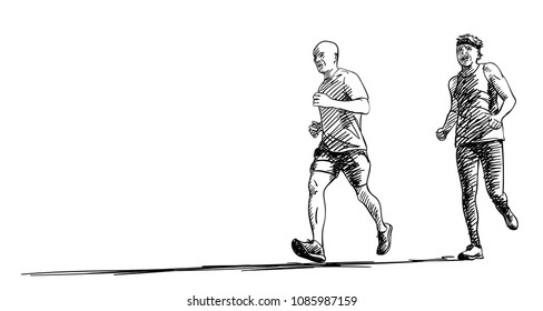 Sketch of two running men with long shadow, Hand drawn vector illustration