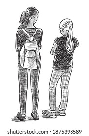 Sketch of two schoolgirls standing and talking outdoors