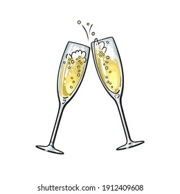 Sketch of two sparkling glasses of champagne. Merry Christmas, Happy New Year and Valentine's Day design element. Hand drawn vector illustration isolated on white background.