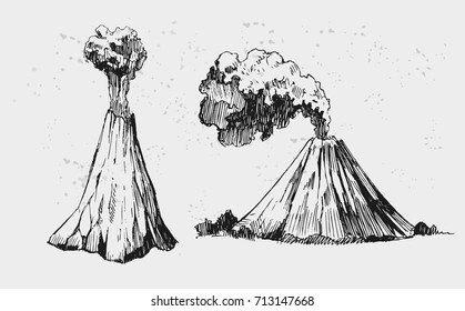 Sketch of two volcano. Hand drawn illustration converted to vector