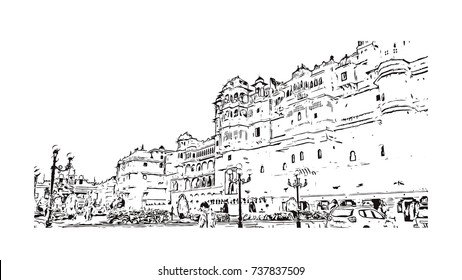 Sketch of Udaipur Palace, India in vector illustration.