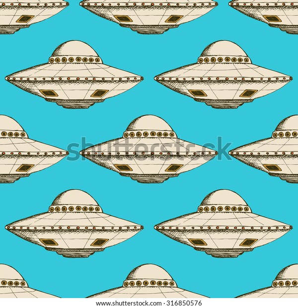 Sketch ufo plate in vintage style, vector poster