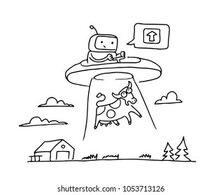 Sketch UFO steal a cow. Robot alien character. On flying saucer. Hand drawn black line vector illustration.