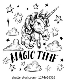 Sketch of unicorn with stars and clouds. Hand drawn illustration converted to vector