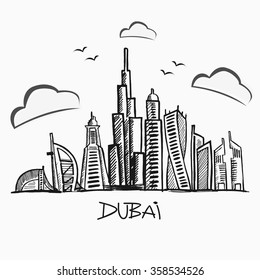 The sketch of urban landscape of Dubai. Vector illustration. Urban background. Quality design illustrations, elements and concept.