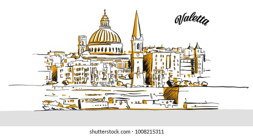 Sketch of Valetta, Malta. Hand drawn vector illustration with modern Headline. Use for greeting card and travel marketing.