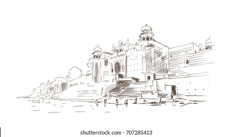 Sketch of Varanasi ghat in vector illustration.