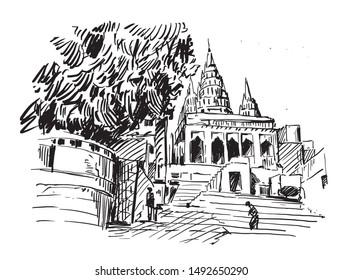 sketch of Varanasi temple in India, hand draw