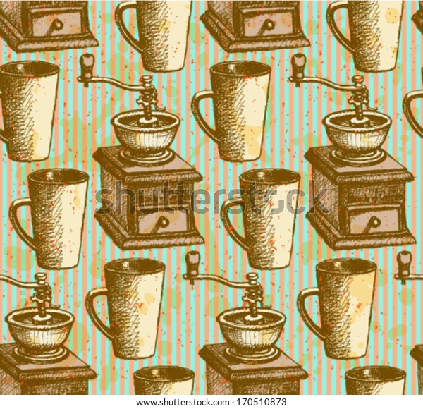 Sketch vector coffee mill and cup, vintage seamless pattern
