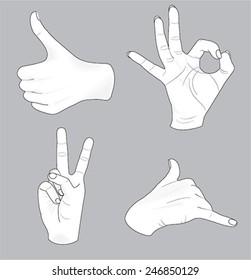 sketch of vector hands