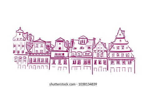 sketch vector illustration european view wroclaw buildings