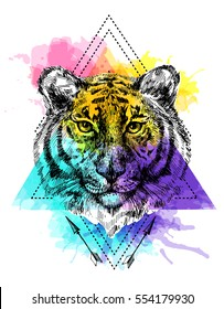Sketch vector illustration with face of tiger. Boho style. Drawing by hand. Us for poster, tattoo, card, postcard, web design.
