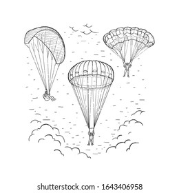 Sketch vector illustration with hand drawn skydivers flying with a paraplane and parachute. Extreme sports concept. Black line isolated on white. Design for print, cover, poster and banner