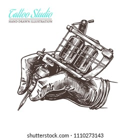 Sketch vector illustration of hand with tattoo machine. Hand drawn art for tattooist