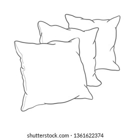sketch vector illustration of pillow, art, isolated, white