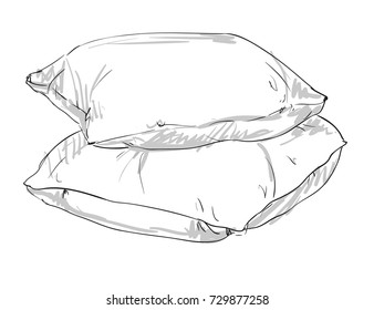sketch vector illustration pillow, hand drawn white pillow