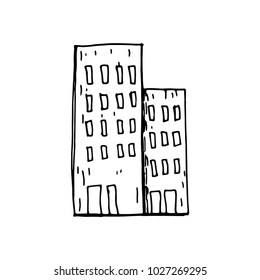 sketch vector isolated black building