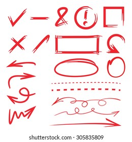 sketch vector of marker elements, arrows, dashed line, circles