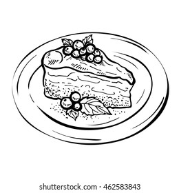 Sketch vector Piece of cake charlotte. Hand drawn vintage Thanksgiving pie illustration