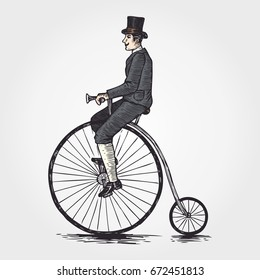 Sketch of Victorian man riding a penny farthing bicycle, vector