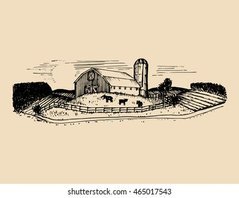 Sketch of village barn, fields and silo. Vector rural landscape illustration. Hand drawn farm, agricultural homestead for poster, card etc.