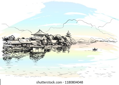 Sketch of village with Buddhist temples on the bank of the river with fishing boat and mountains, Southeast asia landscape, Hand drawn vector illustration on watercolor on background
