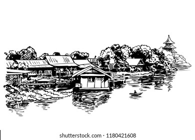 Sketch of village houses, Buddhist temple and boat on river, Hand drawn vector illustration