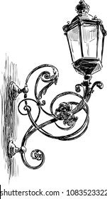 Sketch of a vintage ornate streetlight