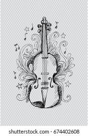 Sketch Violin with floral ornament.