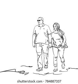 Sketch of walking couple of adults holding hands, Hand drawn vector illustration