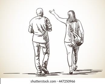 Sketch of walking couple, Hand drawn illustration