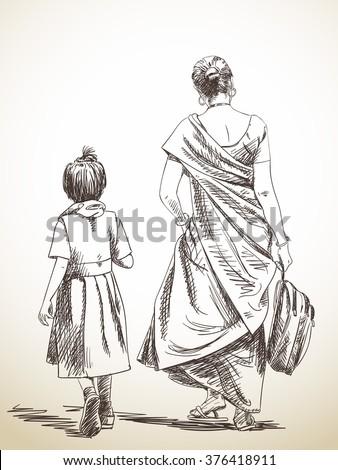 Sketch Walking Mother Daughter School Hand Stock Vector Royalty