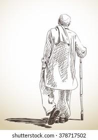 Sketch of walking old man, Hand drawn illustration