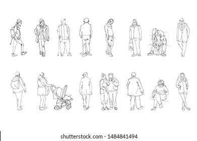 Sketch of walking people, vector Illustration with hand drawing peoples sketch on paper from plein air