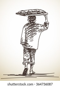Sketch of walking vendor carrying tray of food on his head, Hand drawn illustration