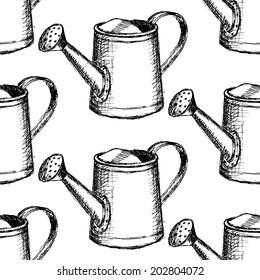 Sketch watering can, vector vintage seamless pattern