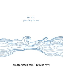 Sketch waves isolated on white background. Vector album cover design, coloring book, anti-stress. wedding invitations, cards, business cards.