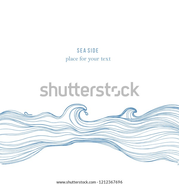 Sketch Waves Isolated On White Background Stock Vector