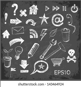 Sketch of web design icons on black chalkboard. Vector illustration.