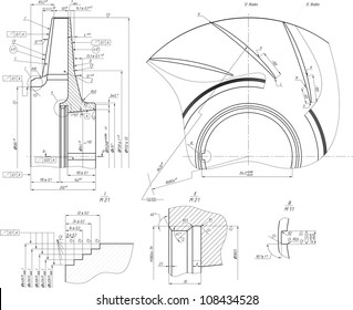 Sketch of the wheel of a centrifugal pump. Vector EPS10