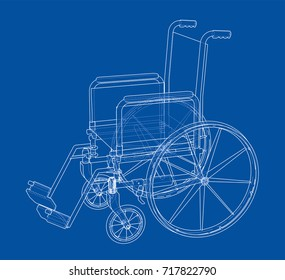 Sketch of wheelchair. Vector rendering of 3d. Wire-frame style. The layers of visible and invisible lines are separated