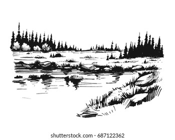 Sketch of wild nature with river and forest. Hand drawn illustration converted to vector.