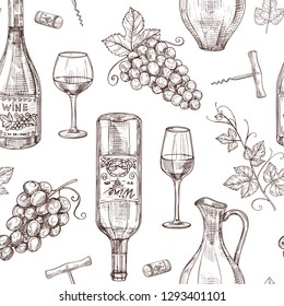 Sketch wine seamless pattern. Wine bottles wineglass corkscrew and grape. Winery, restaurant vector menu texture. Illustration of alcohol drink wine, sketch pattern with bottle