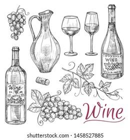 Sketch wine vector elements - bottles, glasses, grapes and jug. Illustration of alcohol drink, beverage in jug, wine bottle