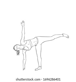Sketch of woman doing yoga, Standing on one leg, Hand drawn vector illustration isolated